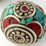 Handmade Tibetan Bead - Turquoise, Red Stone and Silver Large Donut